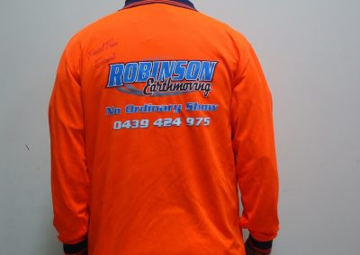 5 colour screen print on orange hi vis