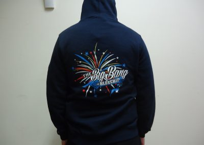 6 colour screen print hoodie