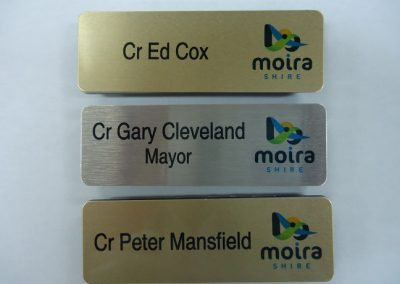 Metal finish name badge