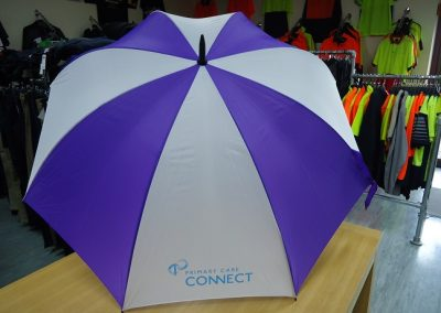 Printed umbrella.