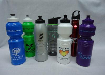 Assorted sports bottles