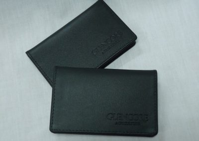 Debossed leather card wallet